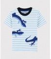 Chlapecké pruhované tričko s krátkým rukávem a potiskem