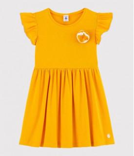 Dívčí šaty s krátkým rukávem ze směsi bavlny a lnu
