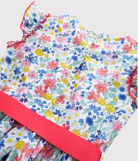 Dívčí šaty s krátkým rukávem a květinovým potiskem